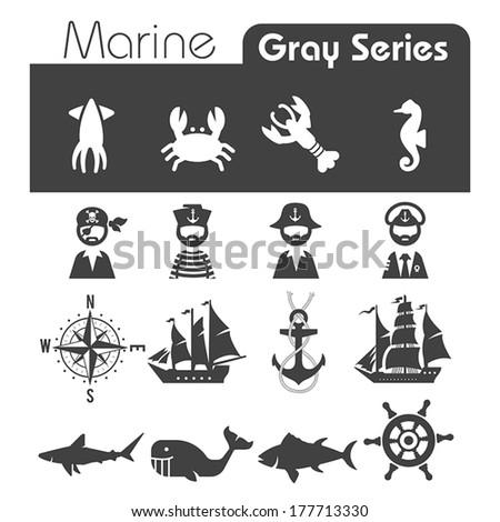 marine icons gray series