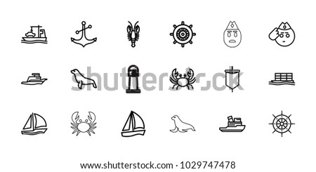 marine icons set of 18
