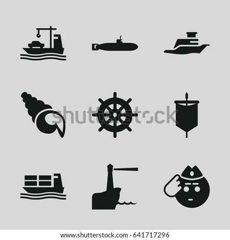 marine icons set set of 9