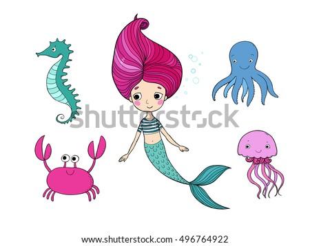 marine illustrations set cute