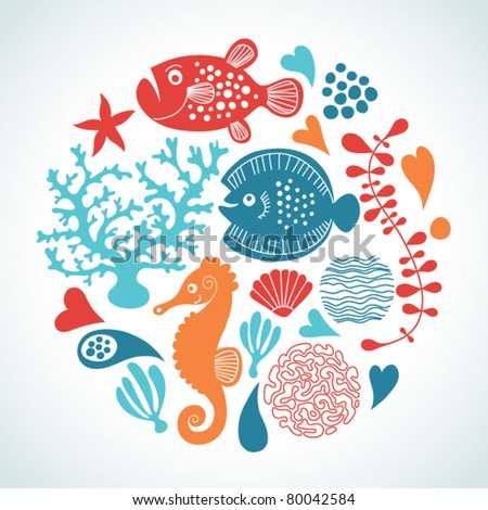 marine life - stock vector