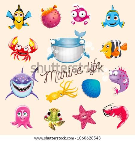 Stock Photo Marine life. Cartoon fun sea and ocean animals set. Vector illustration, isolated on white background