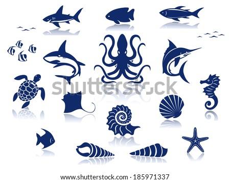 marine life icon set isolated