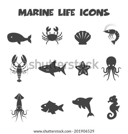 marine life icons, mono vector symbols