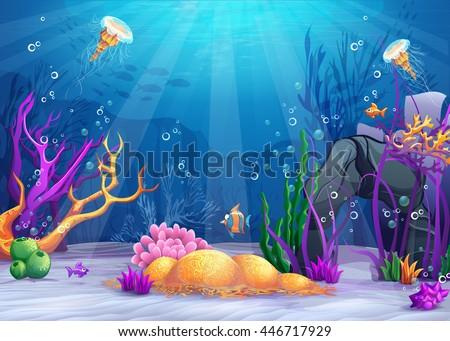 stock vector marine life landscape the ocean and underwater world with different inhabitants for print 446717929 - Каталог — Фотообои «Для детской»