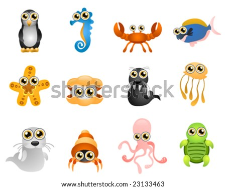 marine life vector   cartoon