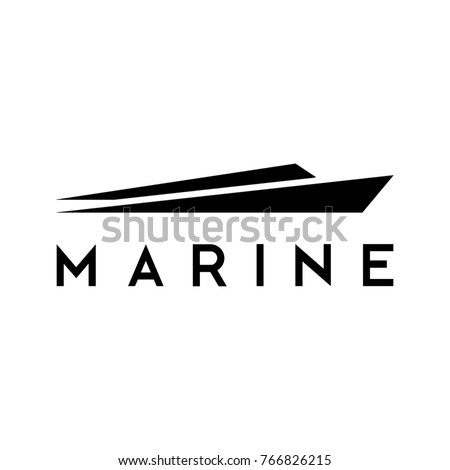 Marine logo, illustration of yacht, template icon for ship, ocean, community, or even company