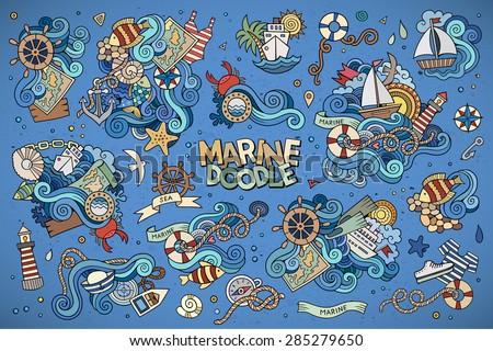 marine nautical hand drawn