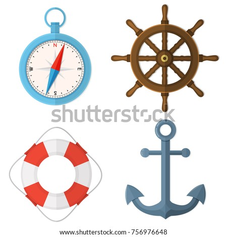 Marine, nautical, sea, ocean set. Steering wheel, lifebuoy, compass, anchor. Flat style vector color illustration isolated on white.
