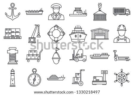 Marine port transport icons set. Outline set of marine port transport vector icons for web design isolated on white background