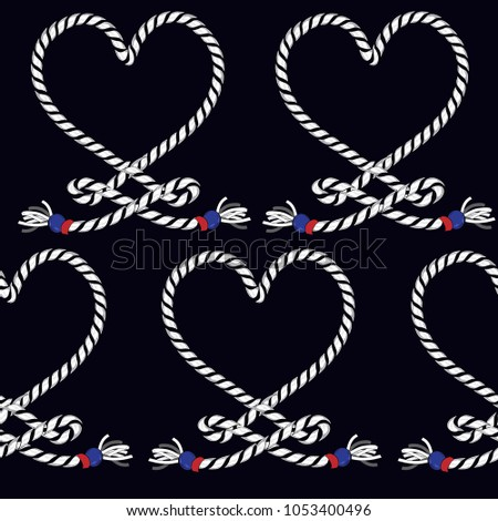 Marine rope knot seamless pattern. Endless navy illustration with heart rope ornament and nautical knots on navy blue  background. For fashion fabric, wallpaper,and all prints