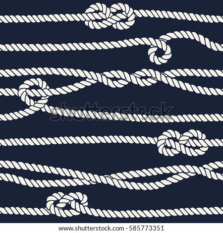 Marine rope knot seamless pattern. Endless navy illustration with white rope ornament and nautical knots on dark background. For fabric, wallpaper, wrapping. Figure 8, overhand and half knots.