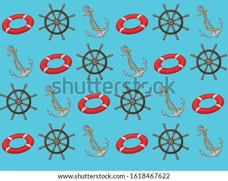 Marine sea nautical navigation seamless pattern with navigational attributes red lifebuoy steering wheel helm and steel anchor. Fabric textile print with aqua captain symbols