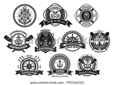 Marine seafarer or sailor vector icons. Heraldic badges set of nautical symbols of ship helm and anchor, captain navigator compass and voyager lighthouse or life buoy with ribbons and trident chains