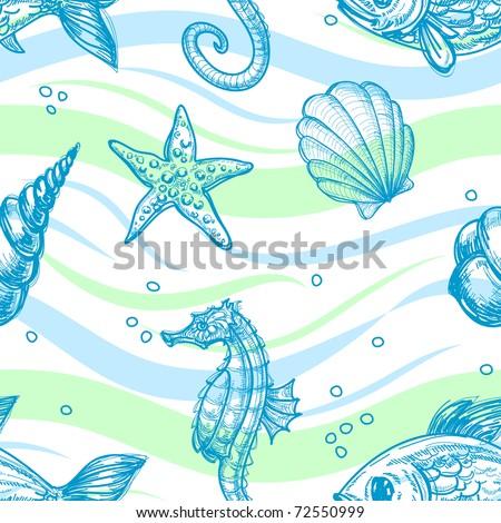 Marine seamless pattern
