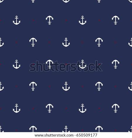 Marine seamless pattern/ Anchor