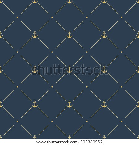 marine seamless pattern background. with golden anchor, diagonal lines and polka dots ornament. vector illustration