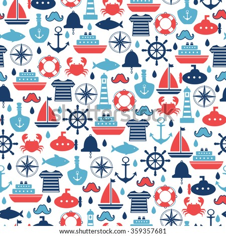marine seamless pattern for