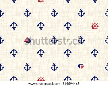 Marine seamless pattern/ Illustration of the anchor and sailing