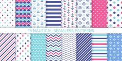 Marine seamless pattern. Vector. Nautical sea backgrounds with anchor, sailboat, wheel, stripe, zigzag and wave. Set blue summer print. Geometric texture for baby shower, scrapbook. Color illustration