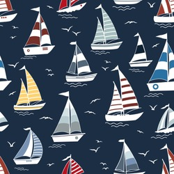 Marine seamless pattern with cartoon boats on waves and birds silhouette on blue background