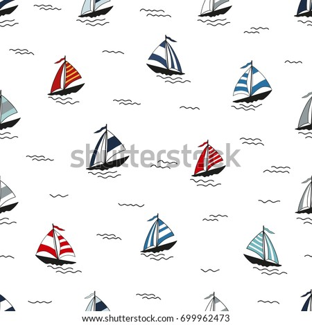 Marine seamless pattern with cartoon boats on white background