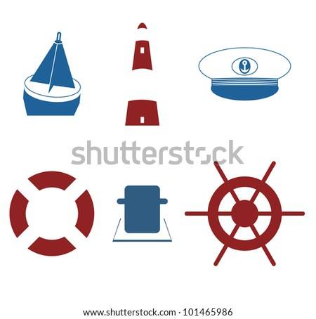 Marine set - Nautical icons in a one-color