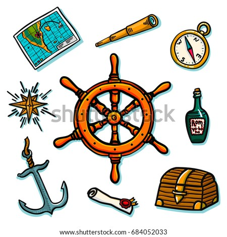 Marine set. Shipboard equipment on a white background. Trunk, helm, map, scroll, compass, wind rose, rum bottle telescope anchor Vector illustration