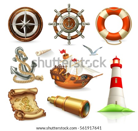 Marine set. Summer vacation 3d vector icons