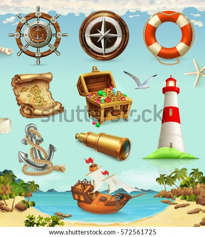 marine set summer vacation  3d