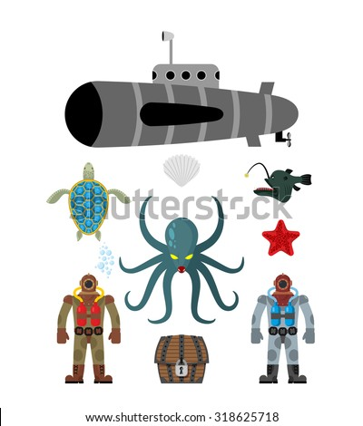 marine set symbol divers and