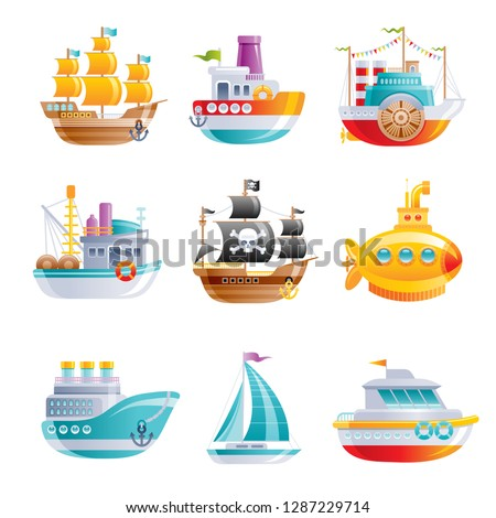 Marine ship icon set. Boat, sailship, pirate galleon, cruise, yellow submarine, motor boat, fishing trawler. 3D Cartoon water transport design. Flat vector illustration isolated on white background.
