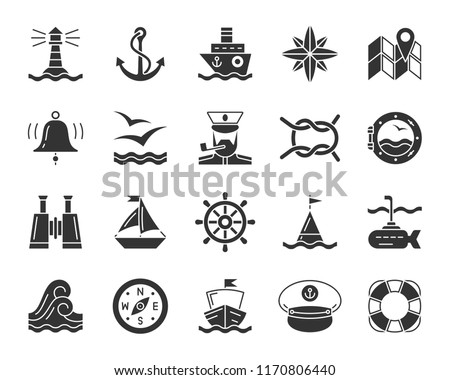Marine silhouette icons set. Monochrome sign kit nautical. Sea Knot pictogram collection includes navy, rope ring, curly wave. Simple marine black symbol isolated on white. Vector Icon shape for stamp
