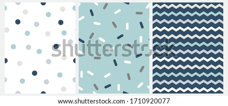 Marine Style Seamless Vector Patterns with Chevron, Dots and Short Lines Isolated on a White, Mint Blue and Navy Blue Background.Simple Geometric Repeatable Design.Cute Zig Zag Print. Dotted Backdrop.