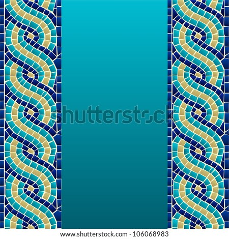 Marine style wave mosaic seamless pattern background. Vector file layered for easy manipulation and custom coloring.