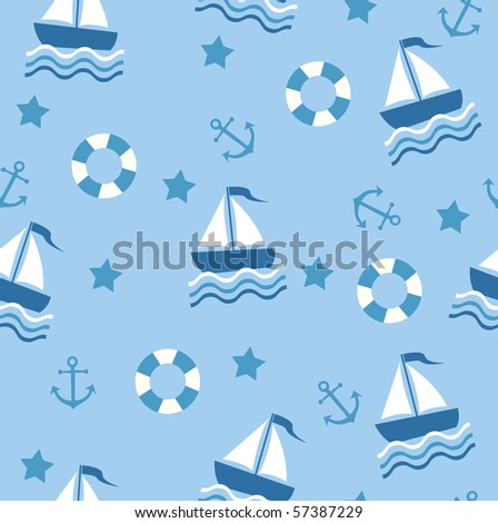 Marine theme. Blue sea seamless