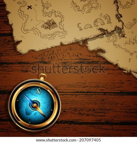 marine theme  compass and map