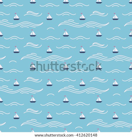 Marine theme vector seamless patterns with cute cartoon boats on the waves. Hand drawn vector illustration for birthday, anniversary, party invitations, scrapbooking, prints, cards.