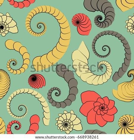 marine themes seamless pattern