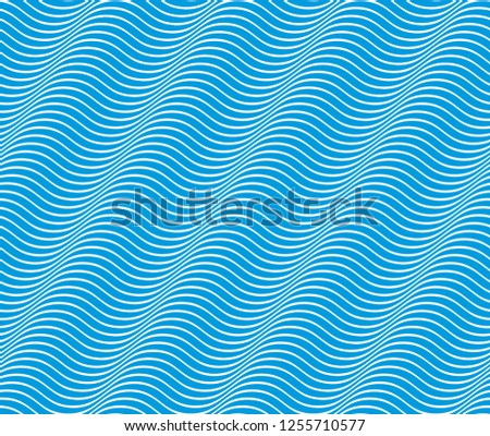 Marine vector seamless pattern with stylized blue waves, curve lines abstract repeat tiling background. Water Wave abstract design.