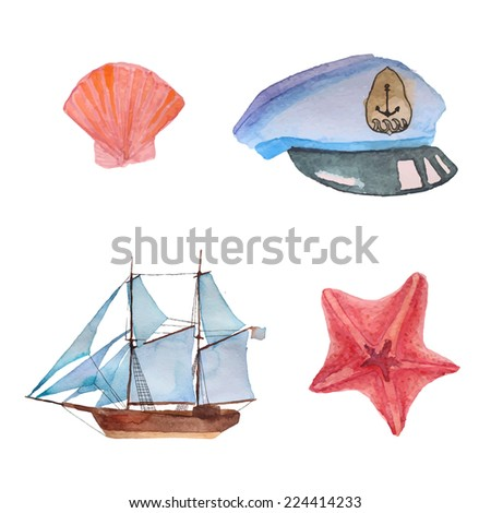 marine watercolor elements set