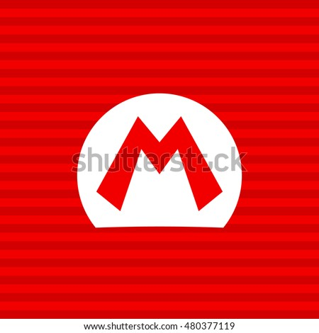 mario bros symbol on a red