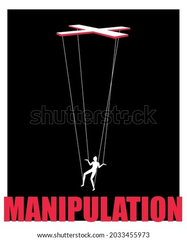 Marionette concept. Woman puppet on boss hand ropes, business exploit control manipulation comncept, puppeteer controlling vector image on black background Foto stock ©