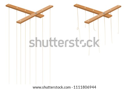 Marionette control bar with intact and broken strings. Torn cords as a symbol for freedom, independence, autonomy, liberty, detachment, release or escape. Isolated vector on white. Stockfoto ©