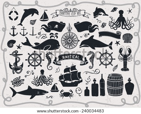 maritime clip art   set of