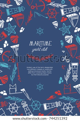 Maritime oval yacht club poster divided on two parts where there is  the name of yacht club and many maritime elements such as coquille, seaweed, stones on the blue background vector illustration