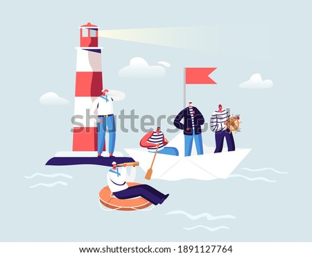 Maritime Sailors Concept. Ship Crew Male Characters in Uniform at Beacon in Ocean. Captain, Sailors in Stripped Vest with Steering Wheel and Life Buoy on Paper Boat. Cartoon People Vector Illustration