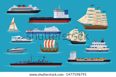 Maritime ships at sea, shipping boats, ocean transport. Marine carriage sea cargo via boat brigantine steamboat container ship dragcar battleship ferry boat tanker yacht cruise liner vector set