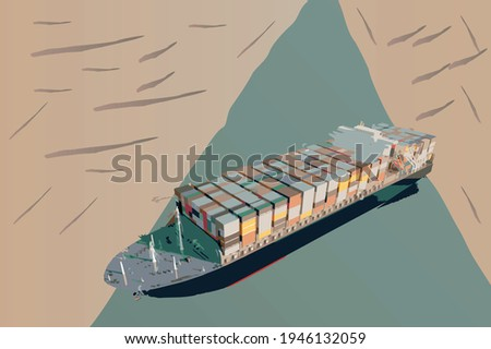 Maritime traffic jam. Container cargo ship run aground and stuck in Suez Canal, blocking world's busiest waterway. Cargo vessels traffic jam grows in Suez canal.