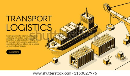Maritime transport logistics vector illustration of thin line art in black isometric halftone. Ship cargo delivery or boat shipping containers and parcel boxes with loader crane on yellow background stock photo